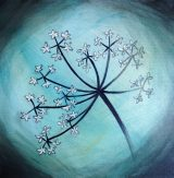 Hemlock Sleeps, painting of a hemlock flower in blue by Anna Elkins