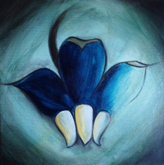 Milkweed Sings, painting of a milkweed seed in blue by by Anna Elkins