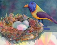 """Wooden Bird,"" watercolor by Anne Brooke, founder of Art Presence Art Center"