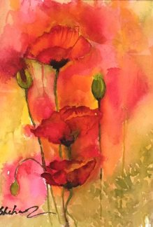 Poppies, watercolor by Shahnaz LeRoy