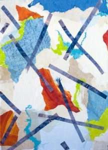 September Art Exhibit : Pick Up Sticks, abstract painting by Judy Ommen