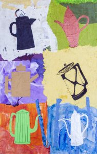 New Beginnings: Coffee Pot Medley, Mixed Media by Judy Ommen