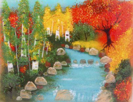 New Beginnings: Riverscape, glass art by Jessy Carrara