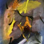 Abstracts by Patrick Best at Pioneer Village July 2017 :New Beginnings April 2017 Reception : Deep Journey, acrylic on paper by Patrick Beste