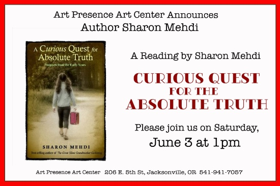 "Sharon Mehdi reads from her book, ""A Curious Quest for Absolute Truth."" at 1:00 pm on Saturday June 3, 2017"