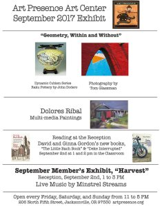 Poster for Harvest, September 2017 member show at Art PResence, Jacksonville, Oregon
