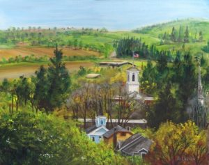 Holiday Treasures 2017 : View of jacksonville from the Cemetery, oil painting by Anthony Laenen
