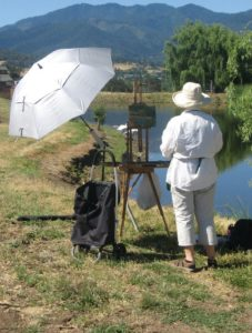 artist painrting on location for the 2018 Southern Oregon Plein Air event SO Plein Air 2018