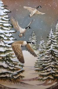 Winter's Flight, watercolor by Linda Abblett