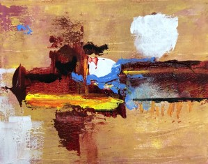Up, Up and Away! March-April 2019 Members show -California Dreaming, abstract painting by Patrick Beste