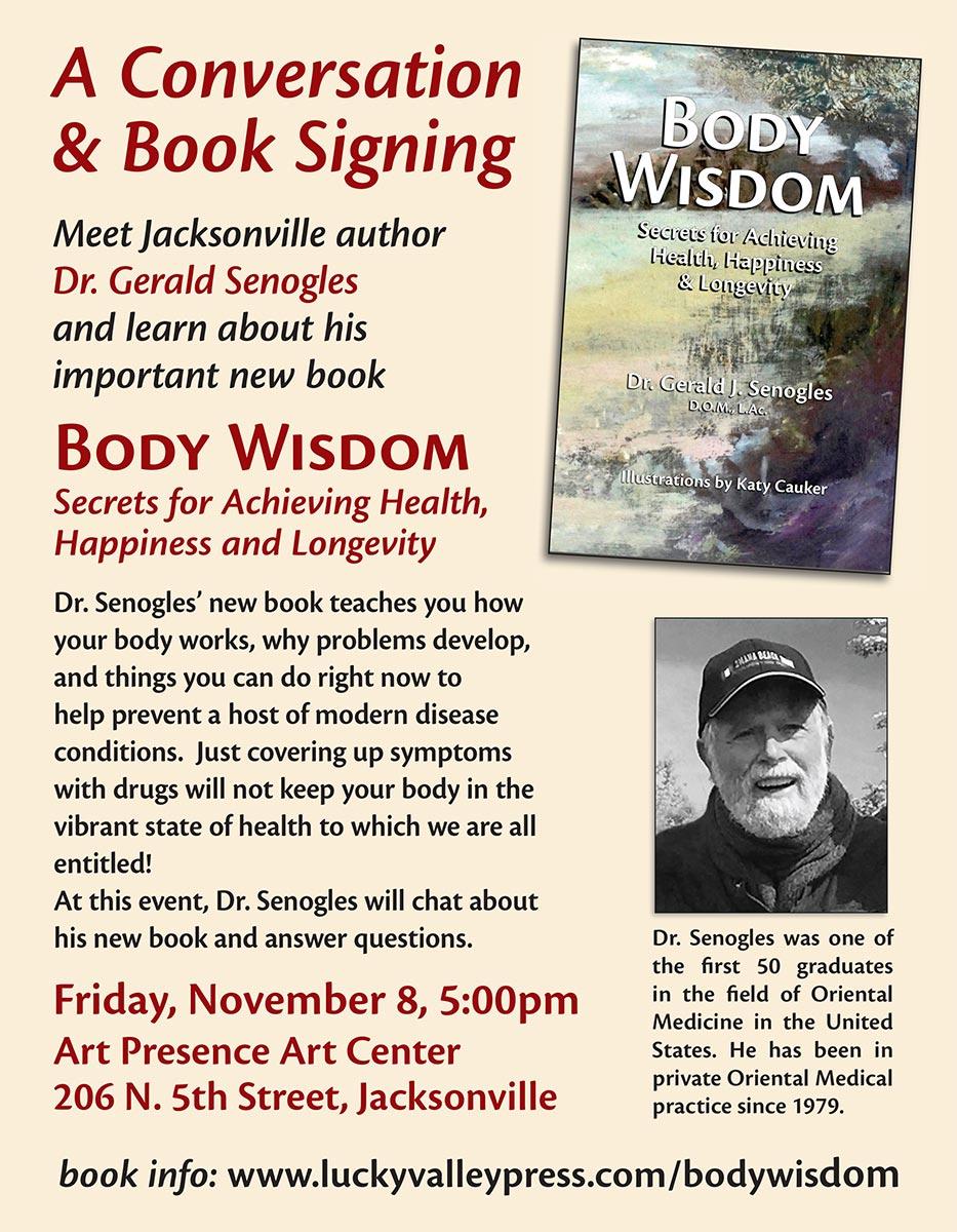 Flyer for Jerry SEnogles book talk at Art Presence Art Center
