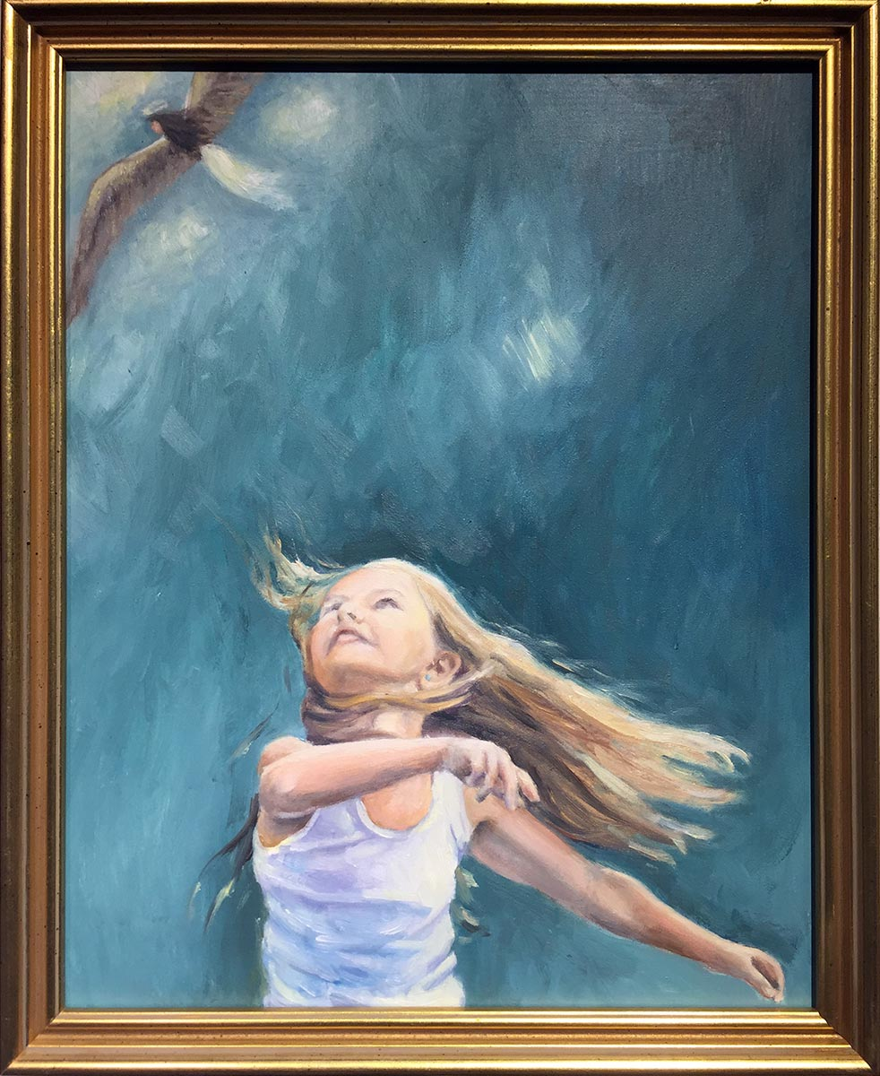 Flight, 10 x 8 oil by Erin Cam $200