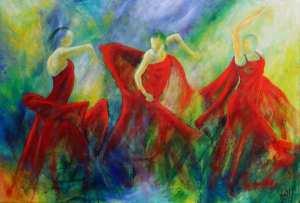 Malerier af flamencodansere i galleri i Hillerød