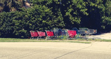 trolley-shopping-cart-bus-stop-art-satire-comedy-humor