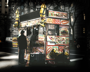 AI art docents image of food cart on a city street at night