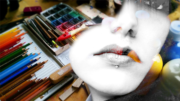 art supplies with ghost face