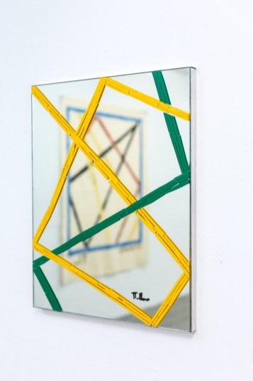 Futur, tape on mirror, 50 cm x 40 cm, 2016