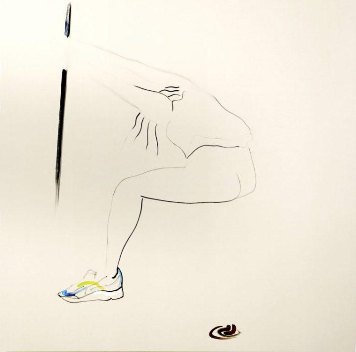 Panos Papadopoulos, youth, oil on cavas, 150 x 150 cm, 2018