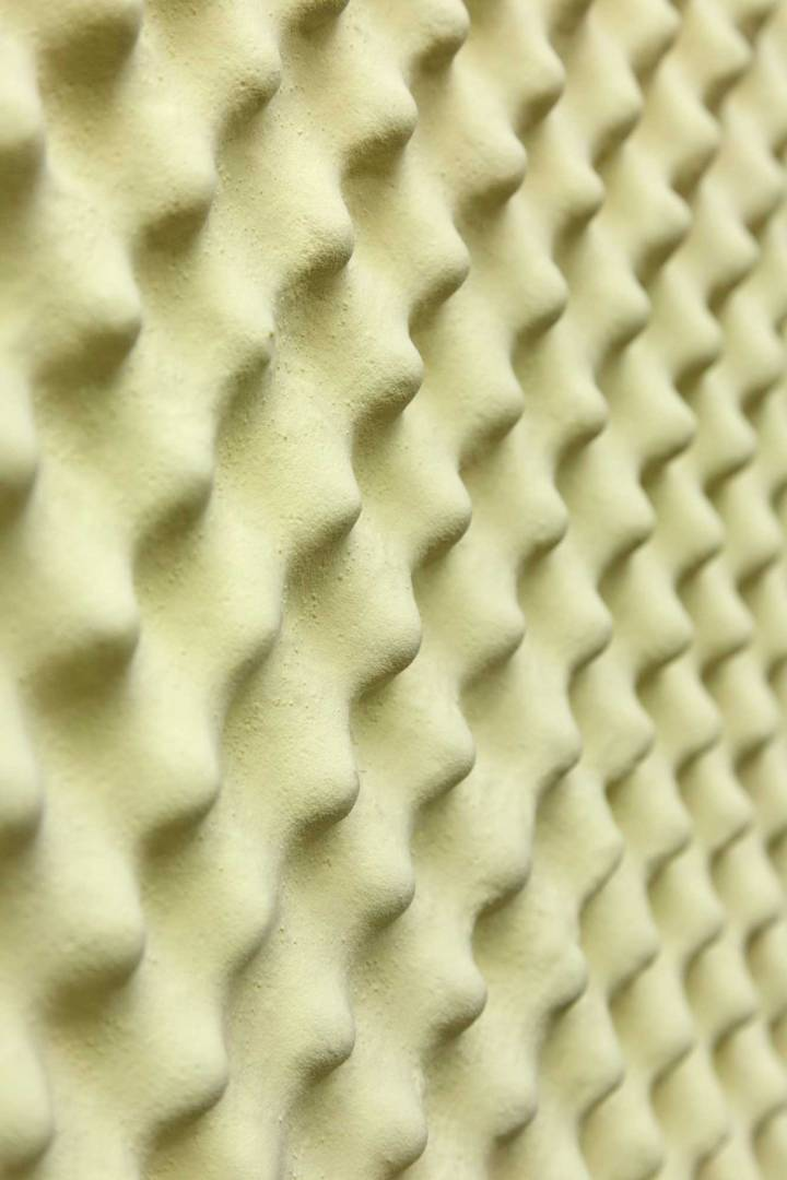 Vasilis Asimakopoulos, Sulfur Slab, 2016. Soundproofing foam, resin, sulphur. 130x110x5cm (detail). Photography by Corey Bartle Sanderson © DATEAGLE ART 2018