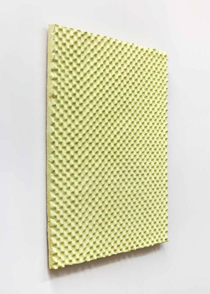 Vasilis Asimakopoulos, Sulfur Slab, 2016. Soundproofing foam, resin, sulphur. 130x110x5cm. Photography by Corey Bartle Sanderson © DATEAGLE ART 2018 01