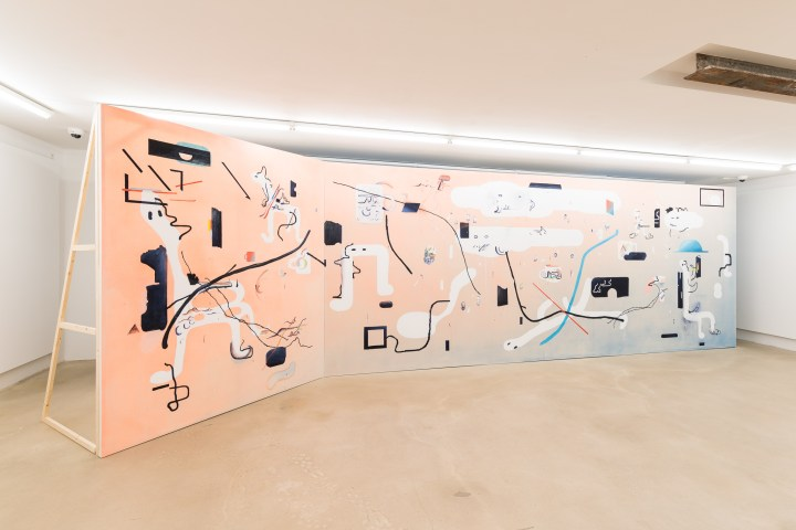 WE ARE HERE TO LAUGH AT THE ODDS, 2018 OIL, ACRYLIC, PENCIL AND WATERCOLOUR ON CANVAS, 800X250 CM