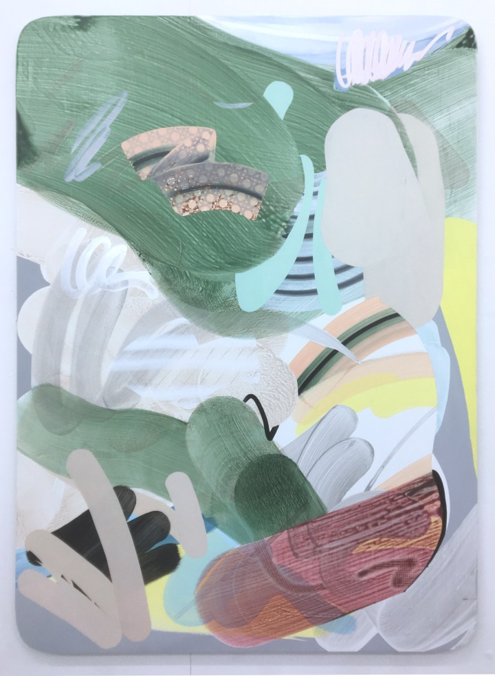 Jean-Baptiste Lagadec, 'Pond (Ariane VI)', 2017, 160x114 cm, acrylic and ink on wood