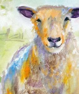 PASTEL SHEEP FARM  by Marcia Baldwin from Animals