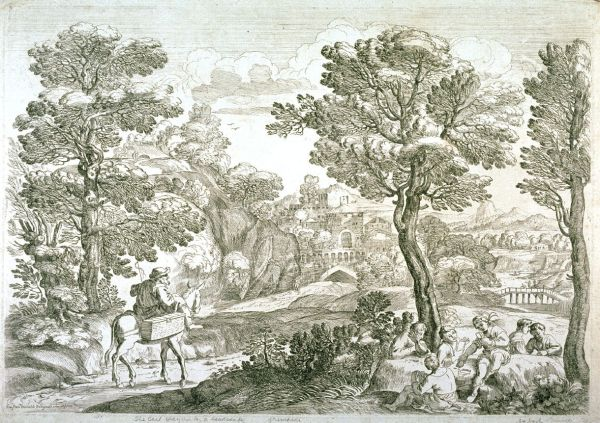 landscape with horseman and boys