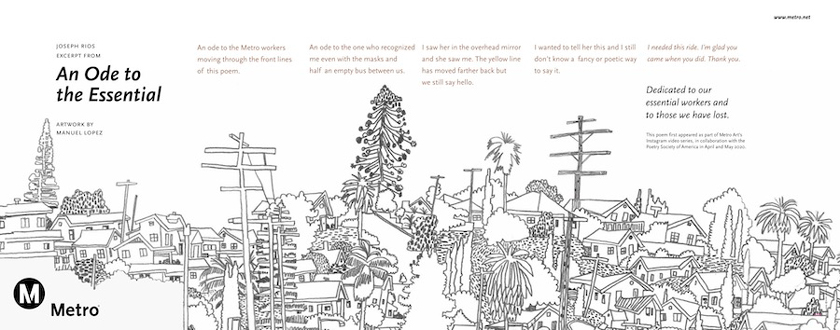 A line drawing of a Los Angeles cityscape with a poem.