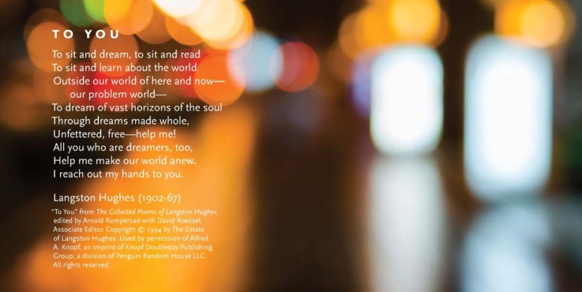 Blurred photo with poems by Langston Hughes.