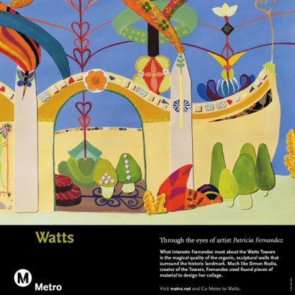 Collage featuring found pieces of material depicting Watts.