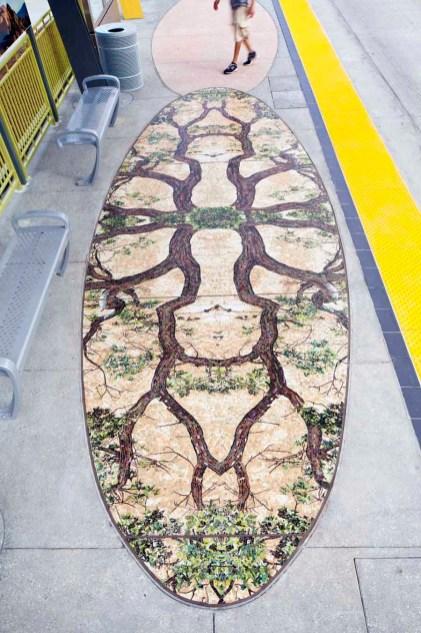 """Ken Gonzales-Day, """"Western Imaginary"""" terrazzo detail of oak trees"""