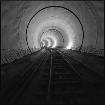 1995, Below Hollywood Blvd, B Line (Red) - Tunnel liner glows mysteriously underground