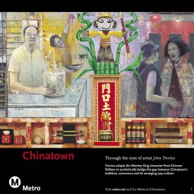 Art adapts the Monkey King character from Chinese folklore to symbolically bridge the gap between Chinatown's traditions and its emerging pop culture.
