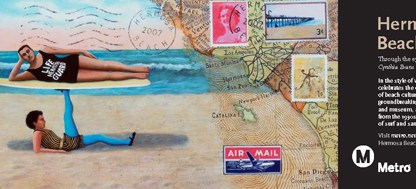 Art depict Hermosa Beach in the style of vintage postcards