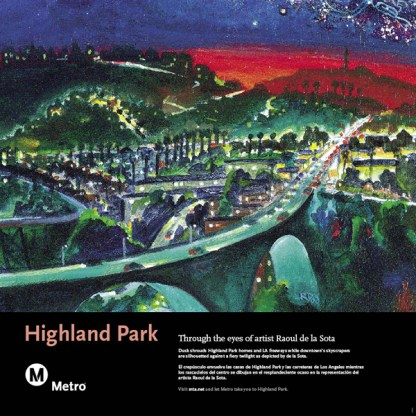 Art depicts Highland Park homes, LA freeways, and downtown's skyscrapers.