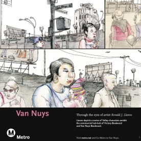 Art depicts a series of Valley characters amidst the commercial hub-bub of Victory Boulevard and Van Nuys Boulevard.
