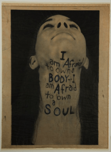 "Lesley Dill. ""A Word Made Flesh...Throat,"" 1994. Gift of Stanley Freehling."