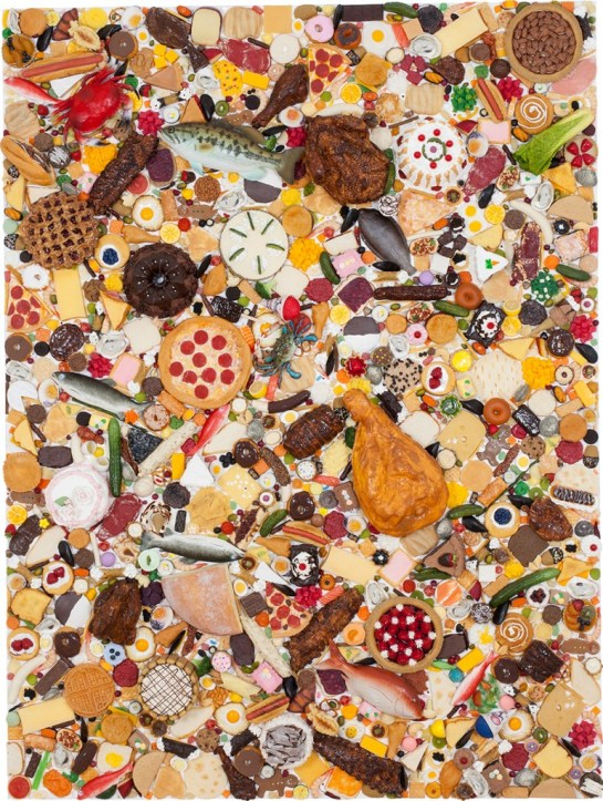 """""""Food Painting,"""" resin and mixed media on panel, 2014"""