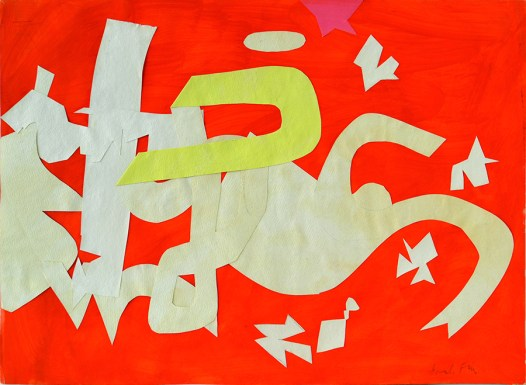 """Perle  Fine. """"Tantrum II,"""" gouache and fold-over collage on paper, 1959"""