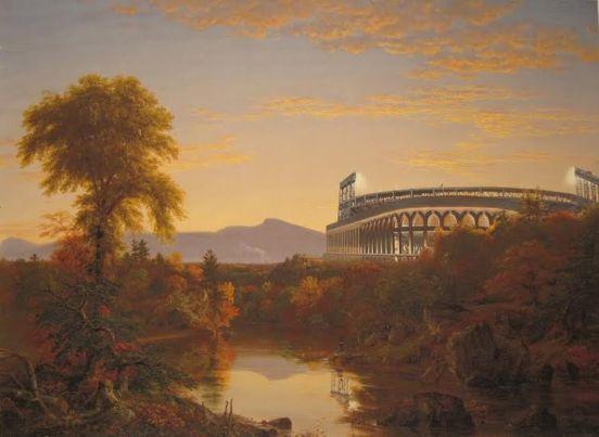 "Geoffry Smalley. ""Catskill Creek, Citi Field,"" acrylic on inkjet print, 2012"