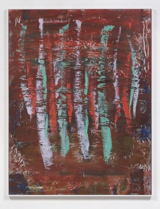 "Jon Pestoni. ""Tracksuit,"" oil and mixed media on panel, inset into wood frame, 2014"