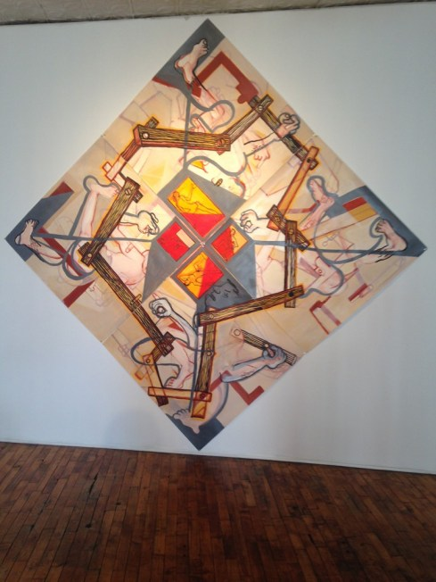 "John Henley painting in Heven Gallery's ""Burn It Down"""