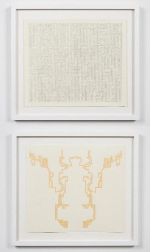 "Lilli Carré. ""Solution Drawing (no. 2),"" 2014, maze: pencil on paper, solution: colored pencil on paper"