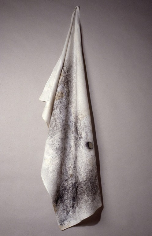 "Anne Wilson. ""Mourning Cloth (drape),"" 1992-93 hair, thread, reconstructed cloth"