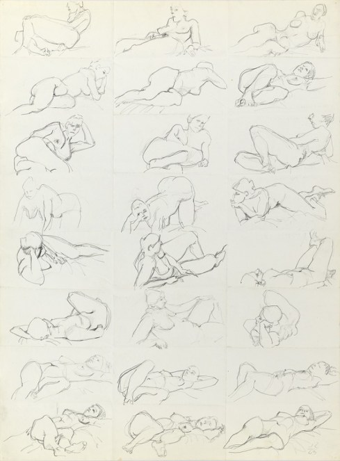 """Jack Tworkov. """"One-Minute Drawings of a Model,"""" 1963, graphite on paper"""