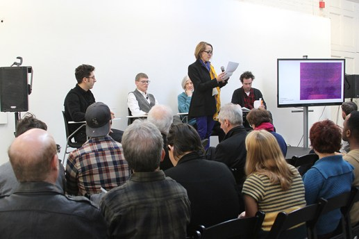 """Participants in panel """"The Materiality of the Image."""" Panelists (from left to right) Daniel Gordon, Anthony Elms, Barbara Kasten and Shane Huffman. Being introduced by symposium organizer Laura Letinsky."""