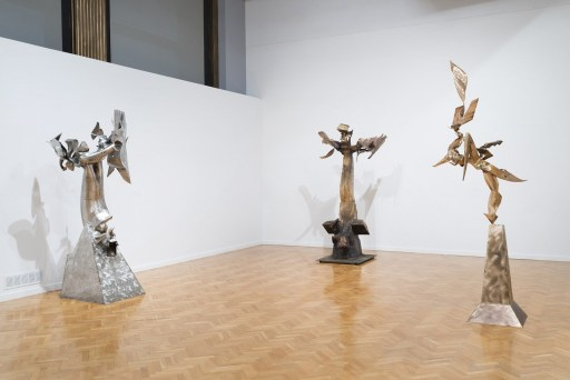 "Richard Hunt. ""Changed Game,"" ""Ascendant,"" and ""Jo's Apotheosis,"" all 2014, installation view at the Chicago Cultural Center"