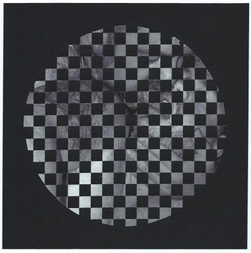 "Dutes Miller. ""Untitled,"" 2014 woven paper, glue, artist tape, 8"" x 8"""