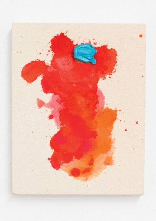 "Brandon Anschultz. ""Spearmint,"" 2015 oil, watercolor, gouache on canvas, 11"" x 8.5"" / Photo by Eileen Mueller."